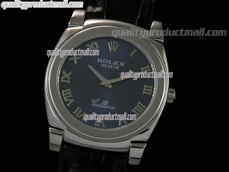 Rolex Cellini Swiss Quartz Watch-Blue Dial Roman Numeral Markers-Black Leather strap
