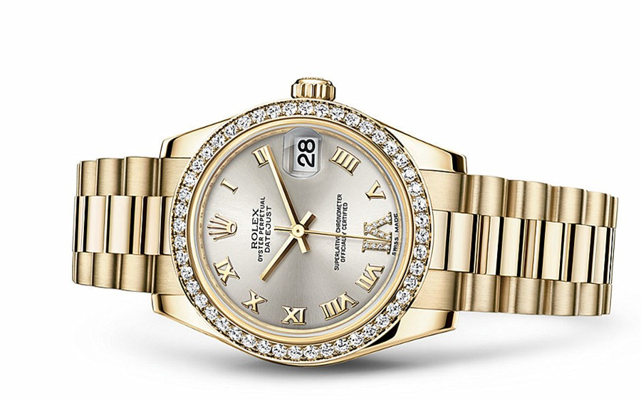 Rolex Datejust Ladies 178288-0056 Swiss Automatic Yellow Gold Silver Dial 31MM
