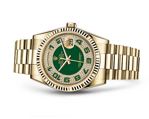 Rolex Day-Date Swiss Automatic Watch Green Dial Yellow Gold