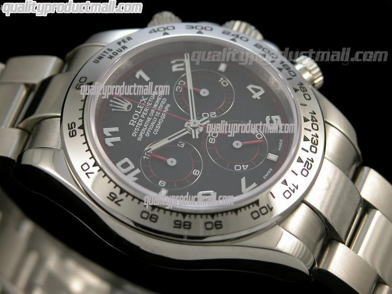 Rolex Daytona Swiss Chronograph-Black Dial Silver Subdials-Red Chronograph-Stainless Steel Oyster Bracelet