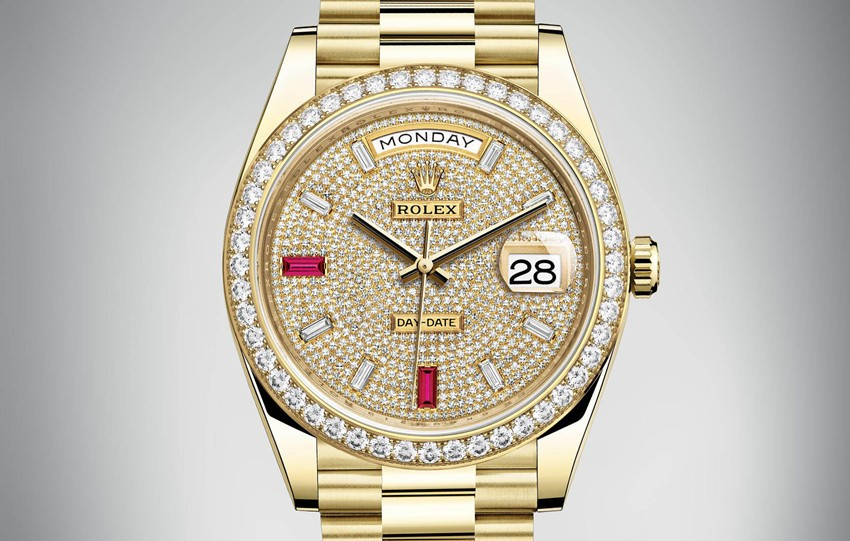 Rolex Day-Date Swiss Automatic Watch Yellow Gold Full Diamonds