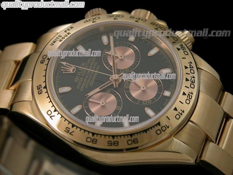 Rolex Daytona Swiss 18K Rose Gold Chronograh-Black Dial Rose Gold Subdials-Stainless Steel Oyster Bracelet