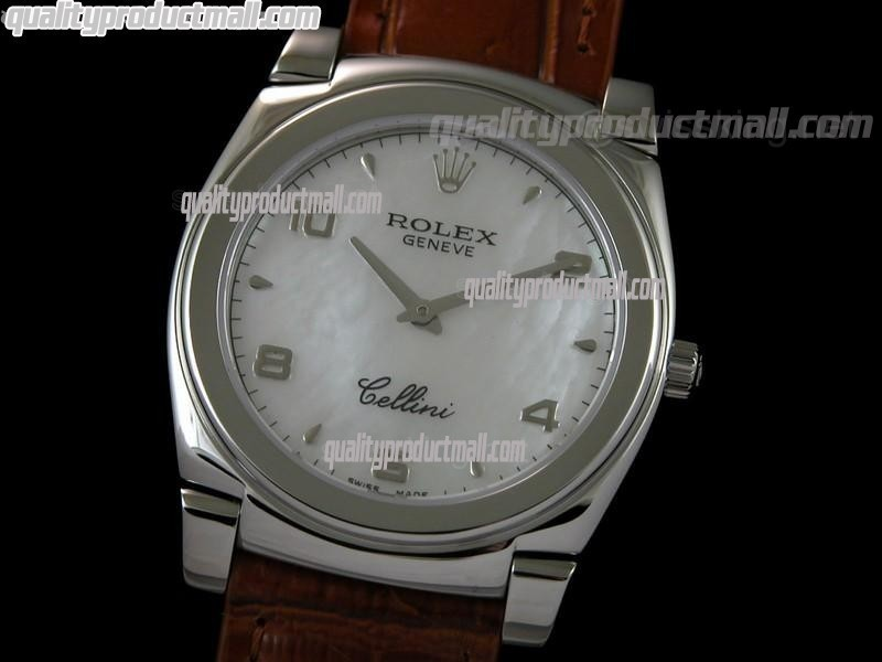 Rolex Cellini Swiss Quartz Watch-MOP White Dial Droplet Hour Markers-Brown Leather strap