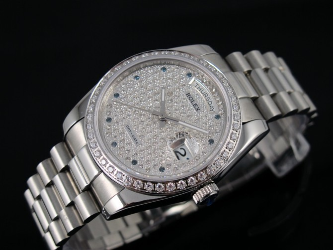 Rolex Day-Date E726 Automatic-Silver Diamond Dial Dots Markers-Stainless Steel Strap