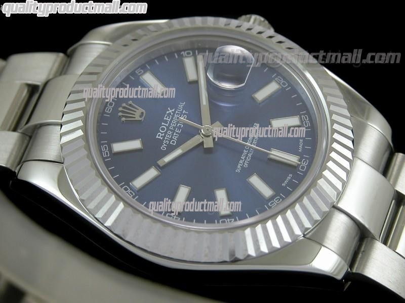 Rolex Datejust II 41mm Swiss Automatic Watch-Blue Dial Luminous Index hour markers-Stainless Steel Oyster Bracelet