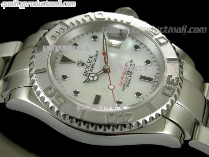 Rolex Yachtmaster II Swiss ETA-Mother of Pearl White Dial White Dot markers-Stainless Steel Oyster Strap