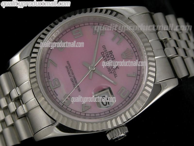 Rolex Datejust 36mm Swiss Automatic Watch-MOP Pink Dial Numeral Hour markers-Stainless Steel Jubilee Bracelet