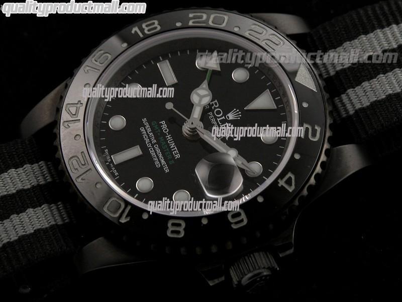 Rolex GMT II Pro Hunter Bi Tone Automatic Watch-Black dial  Large Dot Hour Markers-Nylon NATO Strap