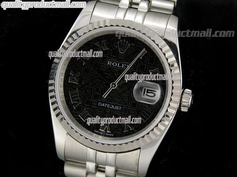 Rolex Datejust 36mm Swiss Automatic Watch-Black Jubilee Dial Roman Numeral Hour Markers-Stainless Steel Jubilee Bracelet