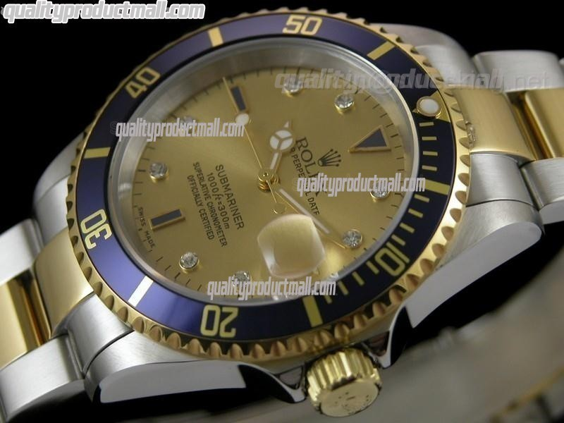 Rolex Submariner Automatic Watch Gold Dial Bi Tone Bracelet