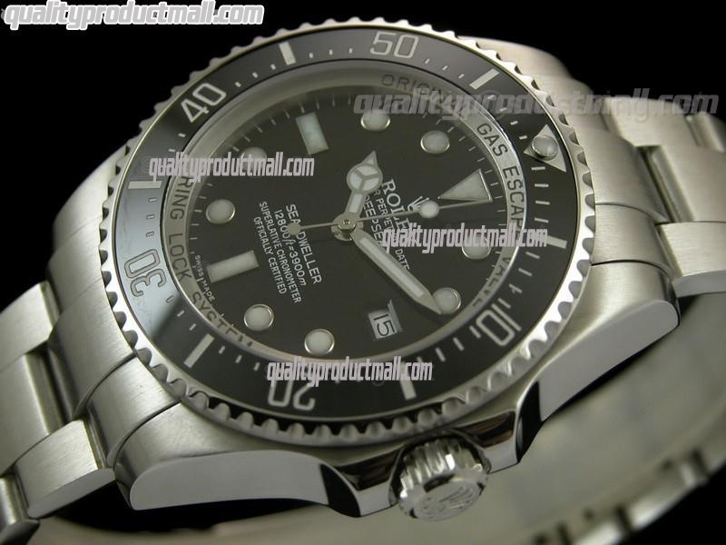 Rolex Sea Dweller Ultimate DeepSea Automatic Watch-Black Dial White Dot Markers-Stainless Steel