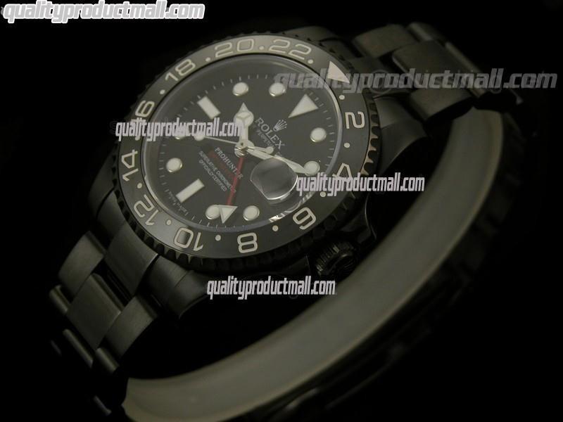 Rolex GMT II Pro Hunter Swiss Automatic Watch-Black Dial-Stainless Steel Oyster Bracelet