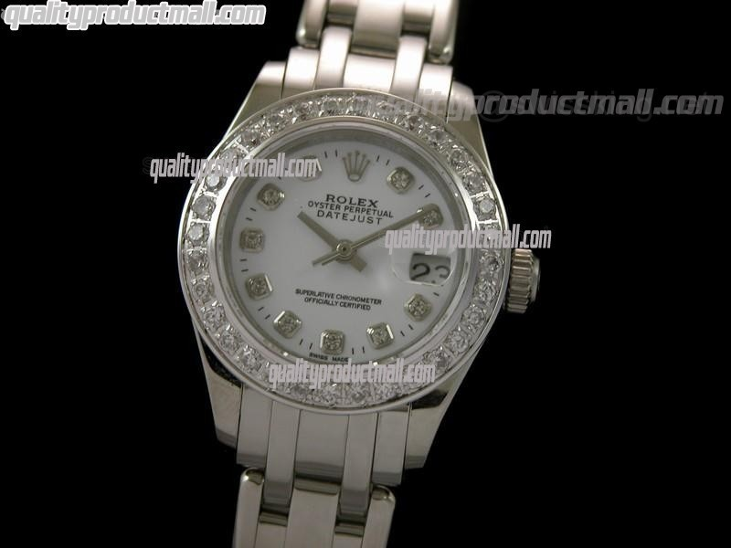 Rolex Masterpiece Ladies Swiss Automatic-White Dial Diamond markers-Stainless Steel Masterpiece Strap