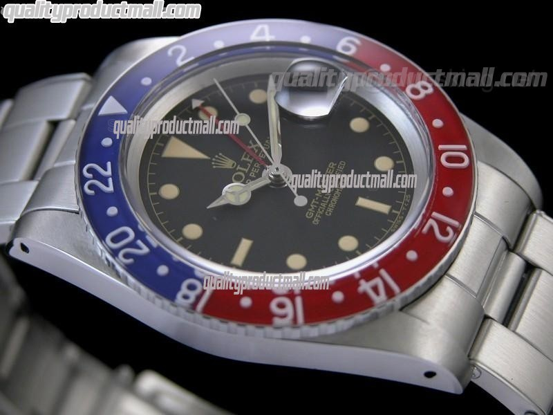 Rolex GMT II Vintage Swiss Automatic Watch-Black Dial Blue/Red Bezel-Stainless Steel Oyster Riverted Bracelet