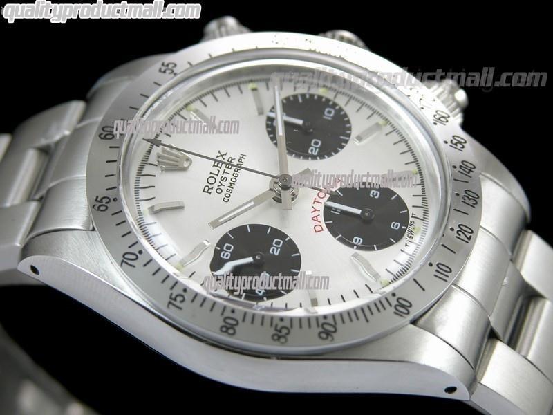 Rolex Daytona Paul Newman Chronograph-White Dial Black Subdials-Black Inner-Stainless Steel Oyster Bracelet
