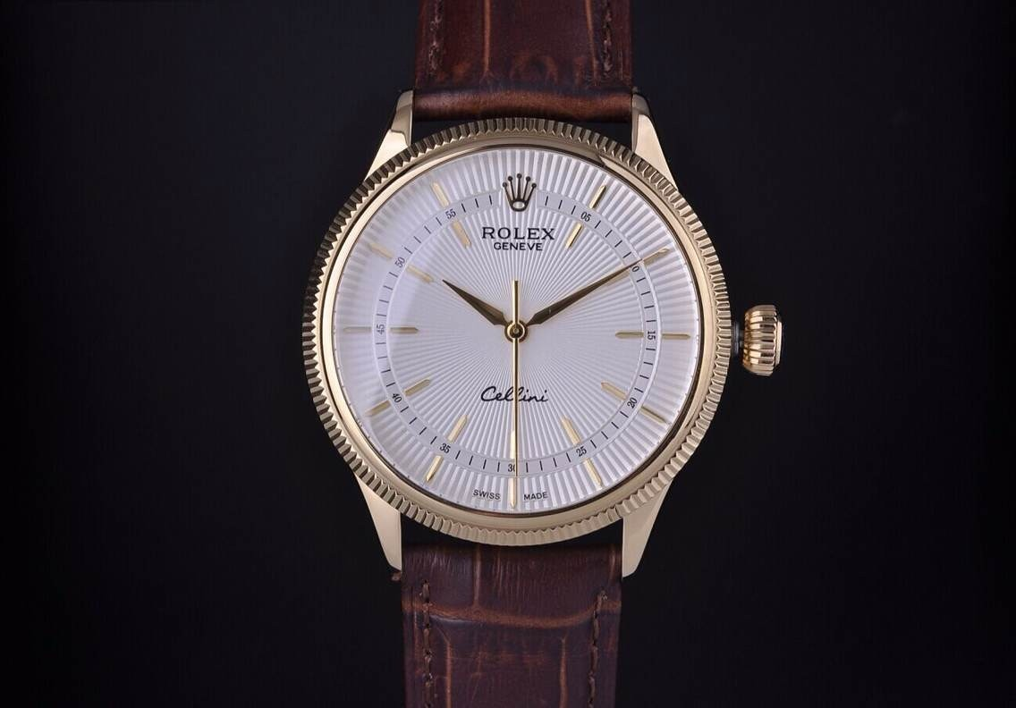 Rolex Cellini Swiss Automatic Watch Yellow Gold-White Dial Stick Hour Markers-Brown Leather Strap