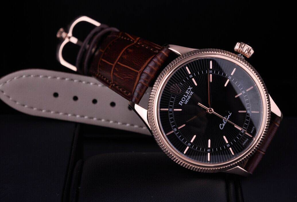 Rolex Cellini Swiss Automatic Watch Rose Gold-Ray Black Dial Stick Hour Markers-Brown Leather Strap