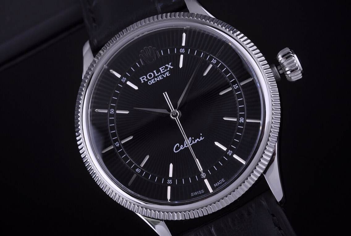 Rolex Cellini Swiss Automatic Watch White Gold-Ray Black Dial Stick Hour Markers-Black Leather strap