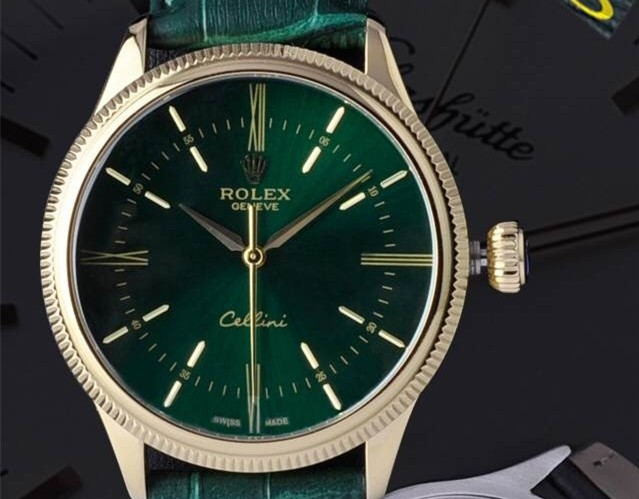 Rolex Cellini Swiss Automatic Watch Yellow Gold-Black Dial Stick Roman Hour Markers-Black Leather Strap