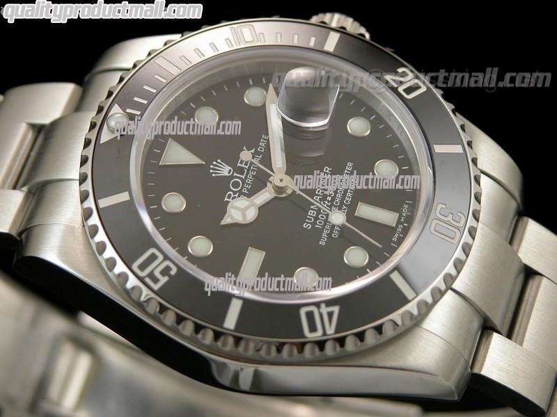 Rolex Submariner Automatic Swiss Watch-Black Dial-Stainless Steel New Style Brushed Oyster Bracelet