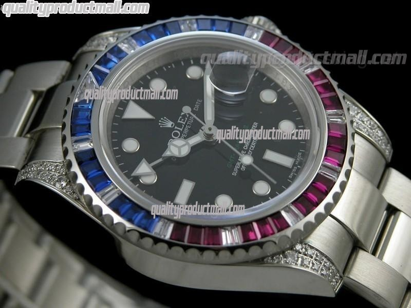 Rolex GMT II 50th Anniversary Bling Model Automatic Watch-Black Dial Ruby Red/Blue Bezel-Stainless Steel Oyster Bracelet