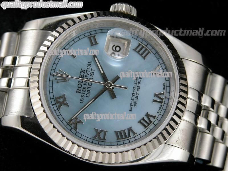 Rolex Datejust 36mm Swiss Automatic Watch-MOP Blue Dial Roman Numeral Hour Markers-Stainless Steel Jubilee Bracelet