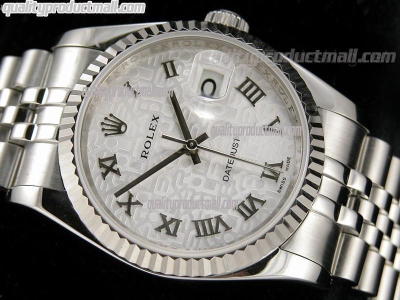 Rolex Datejust 36mm Swiss Automatic Watch-Grey Jubilee Dial Roman Numeral Hours-Stainless Steel Jubilee Bracelet