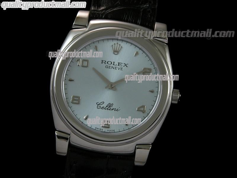 Rolex Cellini Swiss Quartz Watch-Lilac Blue Dial Droplet Hour Markers-Black Leather strap