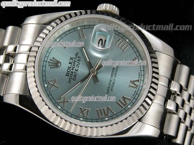 Rolex Datejust 36mm Swiss Automatic Watch-Lilac Sunburst Dial Roman Numeral Hour Markers-Stainless Steel Jubilee Bracelet