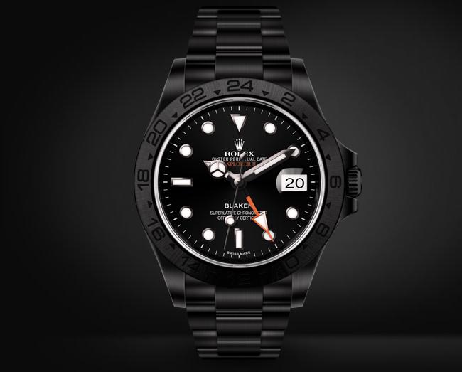 Explorer II Automatic Watch Black Dial Orange GMT hand By Blaken