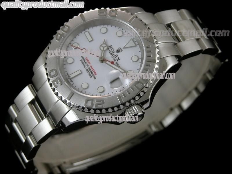 Rolex Yachtmaster II Swiss Automatic Watch-White Dial White Dot Markers-Stainless Steel Oyster Bracelet