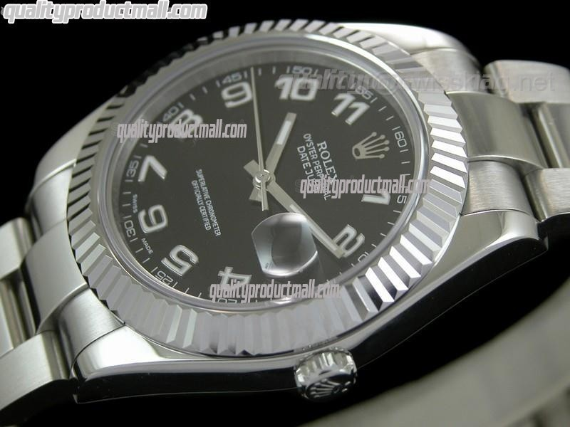 Rolex Datejust II 41mm Swiss Automatic Watch-Black Dial Numeral Hour Markers-Stainless Steel Oyster Bracelet