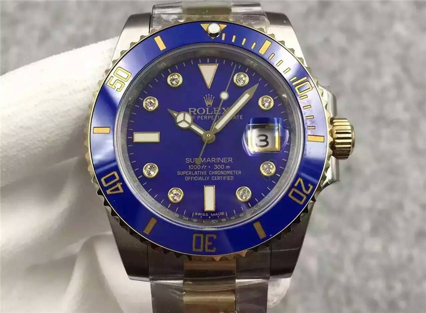 Rolex Submariner Swiss Automatic Watch S6-Diamonds Markers Blue Dial