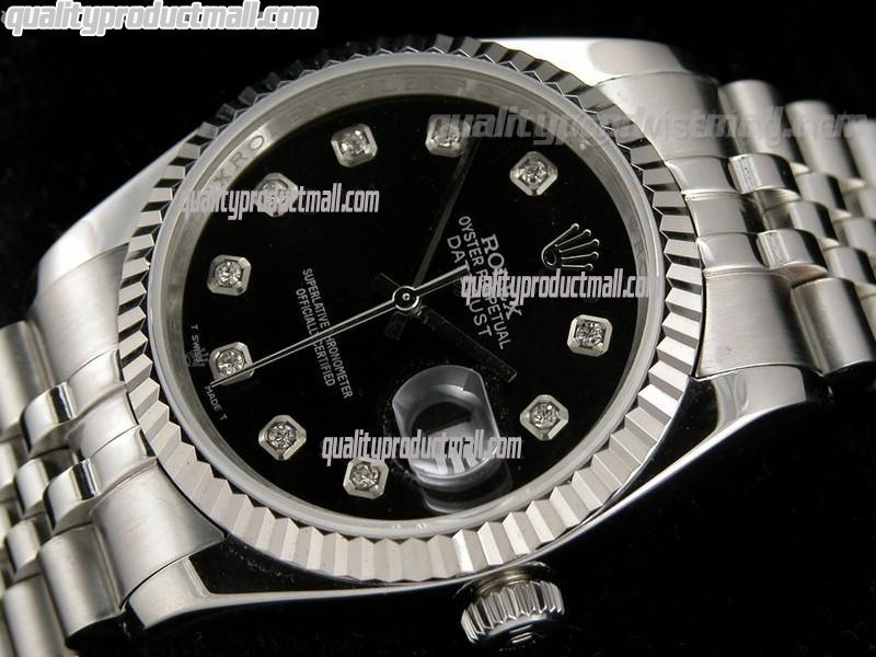 Rolex Datejust 36mm Swiss Automatic Watch-Black Dial Diamond Hour Markers-Stainless Steel Bracelet
