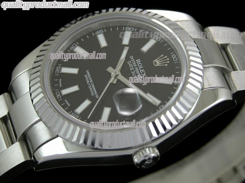 Rolex Datejust II 41mm Swiss Automatic Watch-Black Dial Index Hour Markers-Stainless Steel Oyster Bracelet