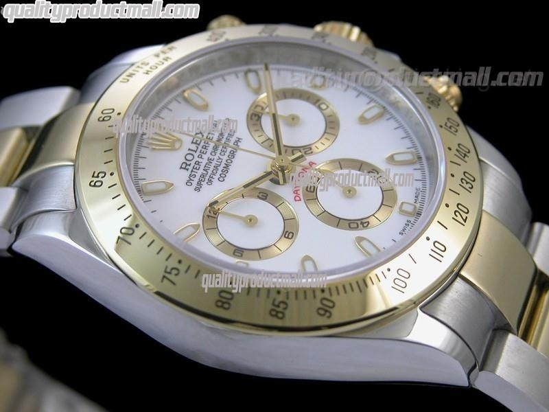 Rolex Daytona Swiss 18K Gold Bi Tone Chronograph-White Dial Gold Ring Subdials-Stainless Steel Oyster Bracelet