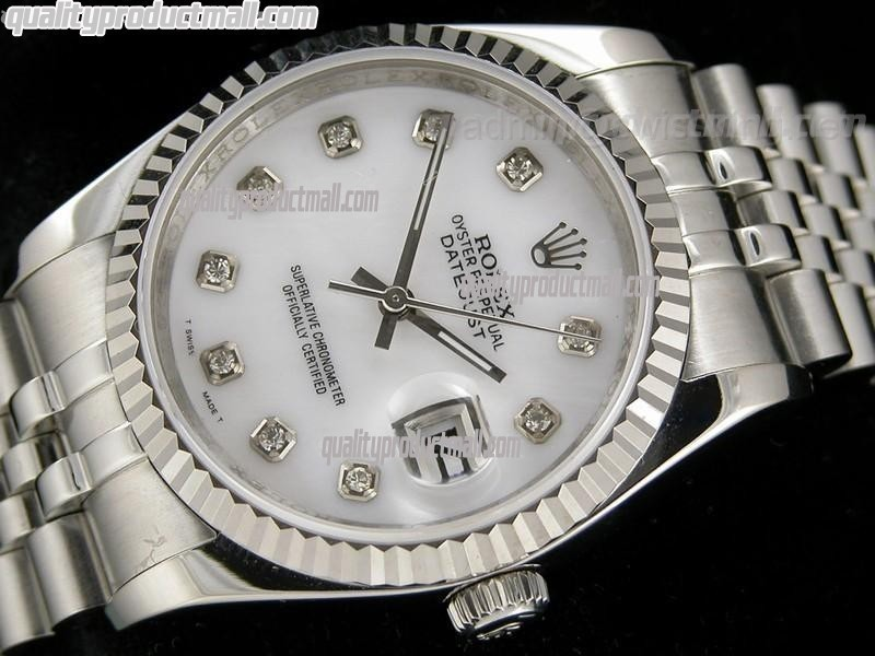 Rolex Datejust 36mm Swiss Automatic Watch-White Dial Diamond Hour Markers-Stainless Steel Jubilee Bracelet