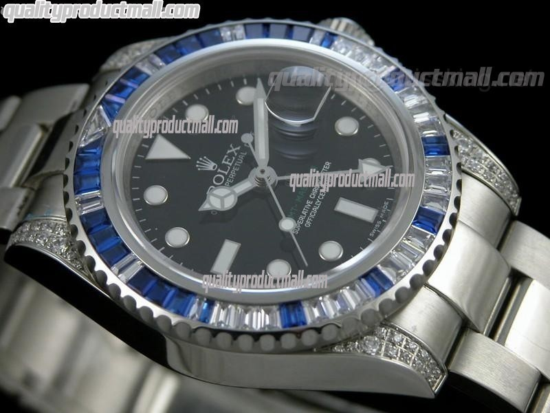 Rolex GMT II 50th Anniversary Bling Model Automatic Watch-Black Dial Blue Bezel-Stainless Steel Oyster Bracelet