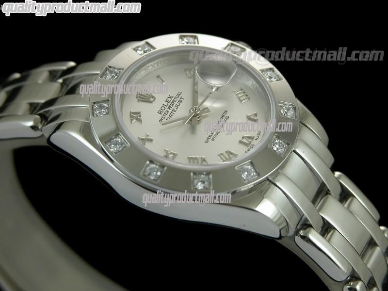 Rolex Masterpiece Ladies Automatic Watch-Silver Dial Silver Roman markers-Stainless Steel Masterpiece Bracelet