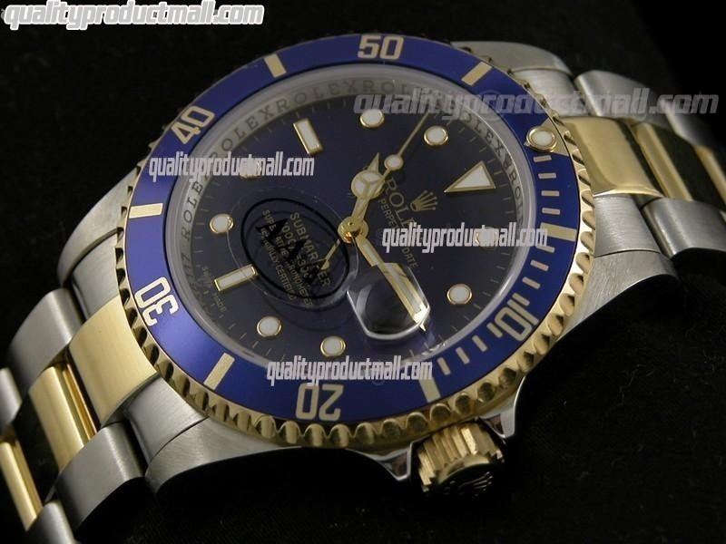 Rolex Submariner Automatic Swiss Watch 18k Gold-Blue Dial-Stainless Steel New Style Brushed Oyster Bracelet