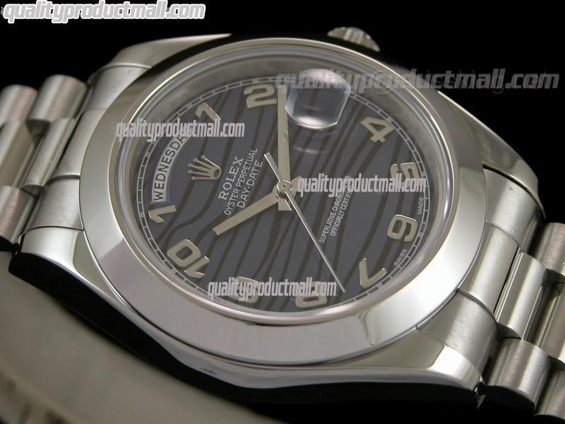 Rolex DayDate II 41mm Swiss Automatic Watch-Stripes Dial Numeral Hour Markers-Stainless Steel Presidential Bracelet