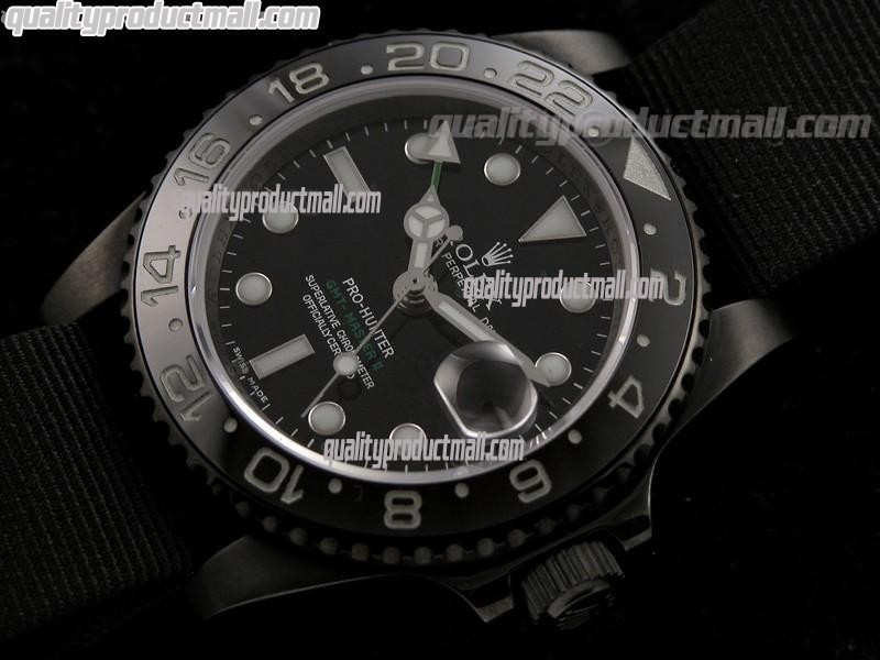 Rolex GMT II Pro Hunter Automatic Watch-Black Dial Large Dot Hour Markers-Dark Green Nylon NATO Strap