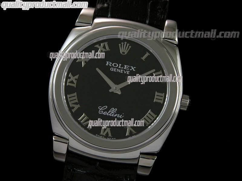 Rolex Cellini Swiss Quartz Watch-Black Dial Roman Numeral Hour Markers-Black Leather strap