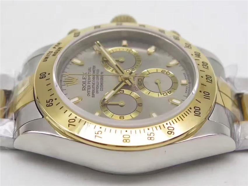 Rolex Daytona Swiss 18K Gold Bi Tone Chronograph-Grey Dial Gold Ring Subdials-Stainless Steel Oyster Bracelet