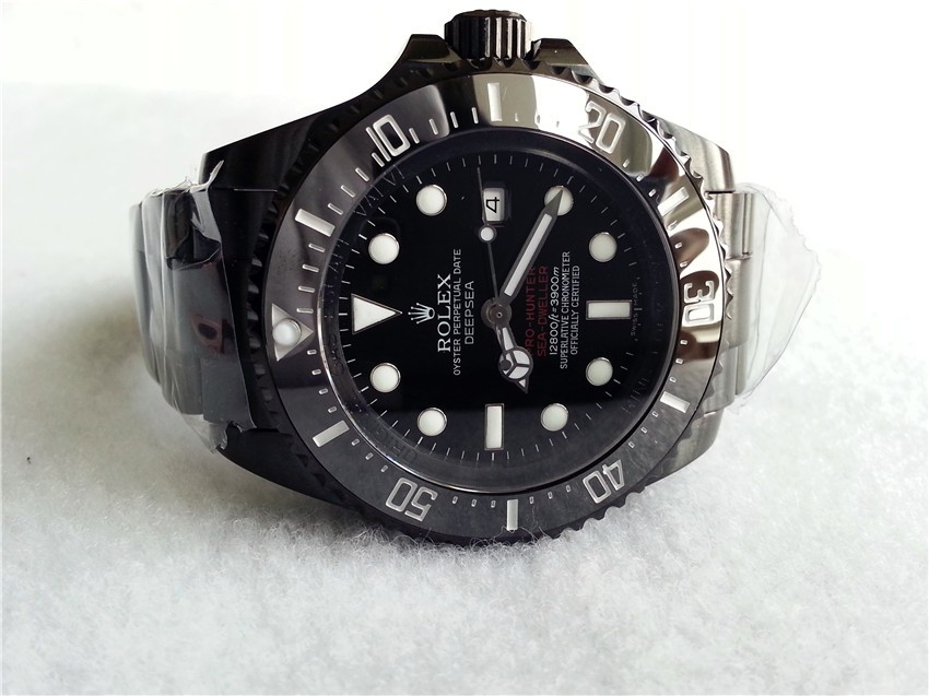 Rolex Sea Dweller Deep Sea Pro Hunter Automatic Watch-Black Dial White Dot Markers-Black PVD Coated Stainless Steel Oyster Brusher Bracelet