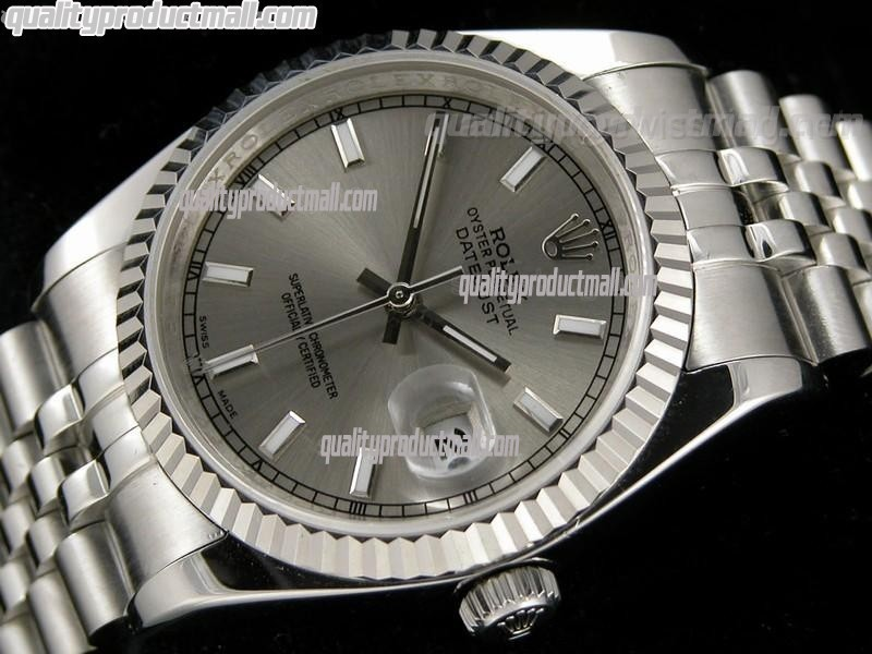 Rolex Datejust 36mm Swiss Automatic Watch-Grey Textured Dial ndex Hour markers-Stainless Steel Jubilee Bracelet