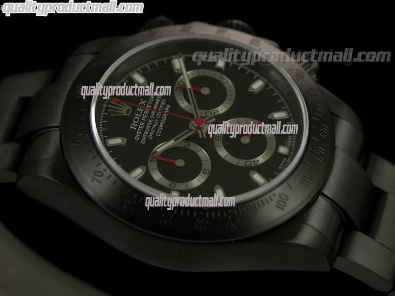 Rolex Daytona Pro Hunter Sticks-Black Dial, Silver Subdials-Matt Finish Black PVD Stainless Steel Oyster Bracelet