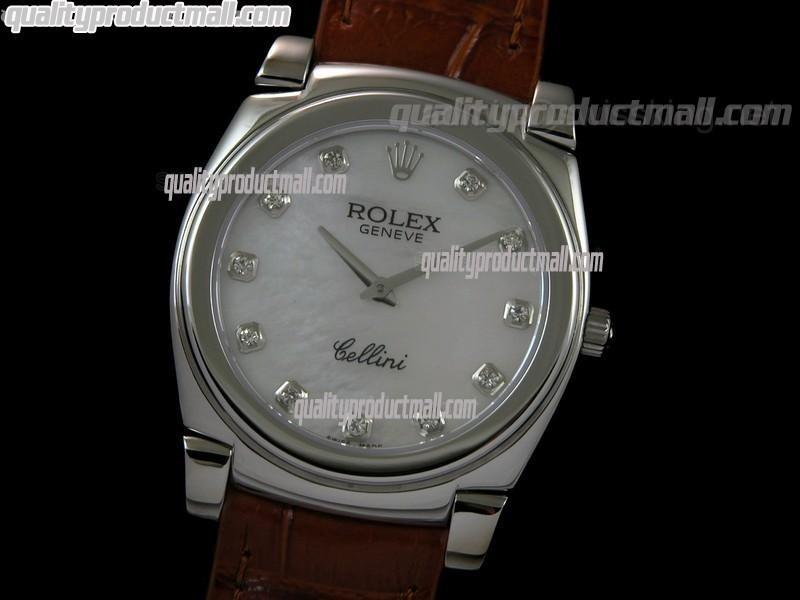 Rolex Cellini Swiss Quartz Watch-MOP White Dial Diamond Hour Markers-Brown Leather strap