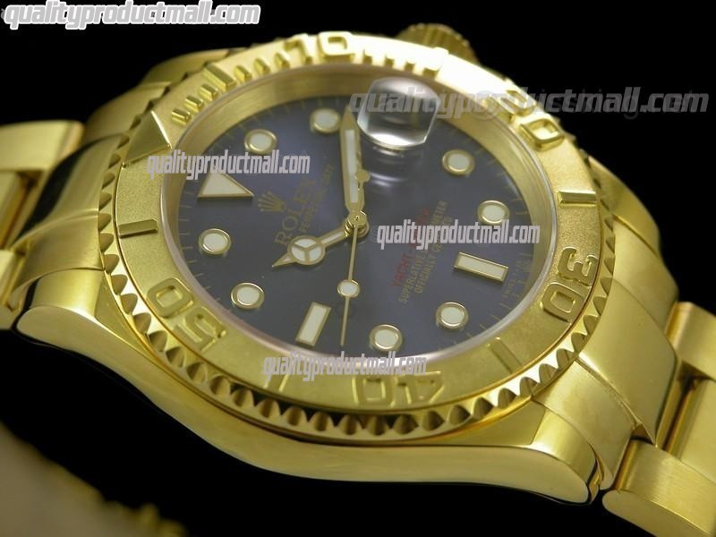 Rolex Yachtmaster II Gold Swiss ETA-Blue Dial White Dot Markers-Gold Plated Stainless Steel Oyster Strap