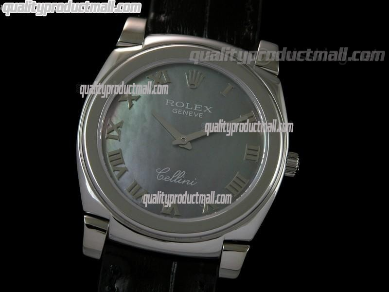 Rolex Cellini Swiss Quartz Watch-MOP Black Dial Roman Numeral Hour Markers-Black Leather strap